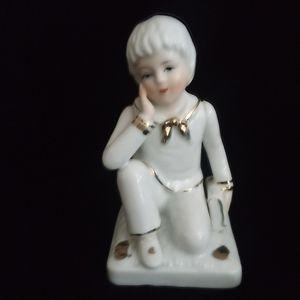 Vintage Porcelain Schoolboy Figurine